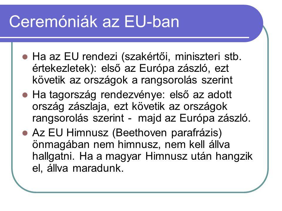 Ceremóniák az EU-ban Ha az EU rendezi (szakértői, miniszteri stb. értekezletek): első az Európa zászló, ezt követik az országok a rangsorolás szerint.