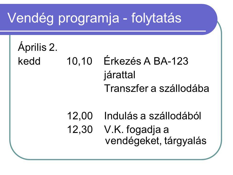Vendég programja - folytatás