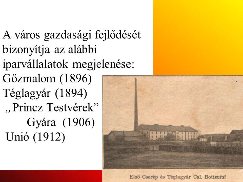 """A város gazdasági fejlődését bizonyítja az alábbi iparvállalatok megjelenése: Gőzmalom (1896) Téglagyár (1894) """"Princz Testvérek Gyára (1906) Unió (1912)"""