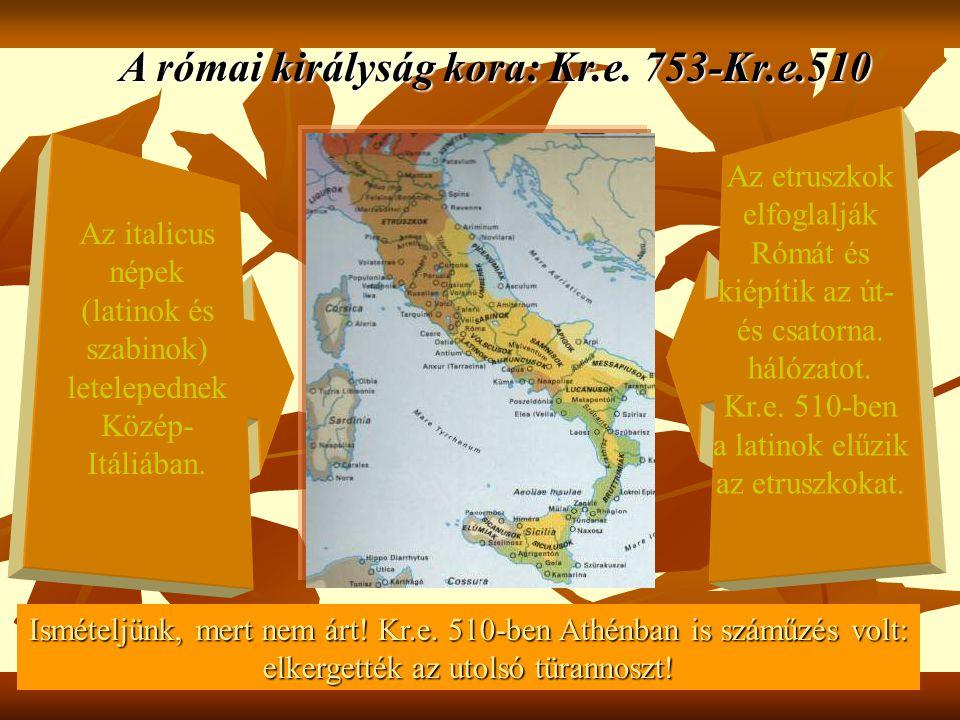 A római királyság kora: Kr.e. 753-Kr.e.510