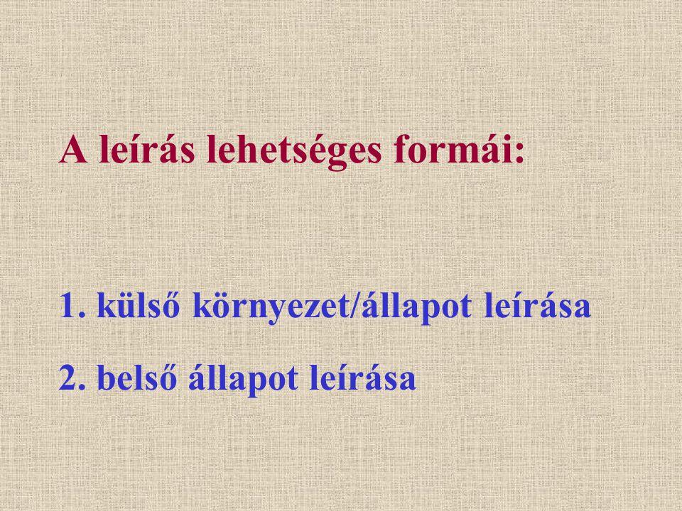 A leírás lehetséges formái: 1. külső környezet/állapot leírása 2