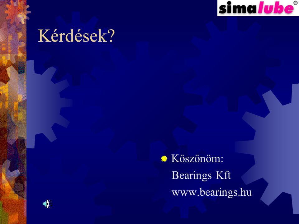 Kérdések Köszönöm: Bearings Kft www.bearings.hu