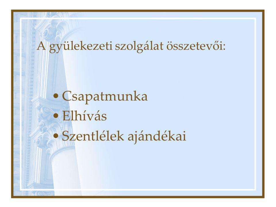 A gyülekezeti szolgálat összetevői: