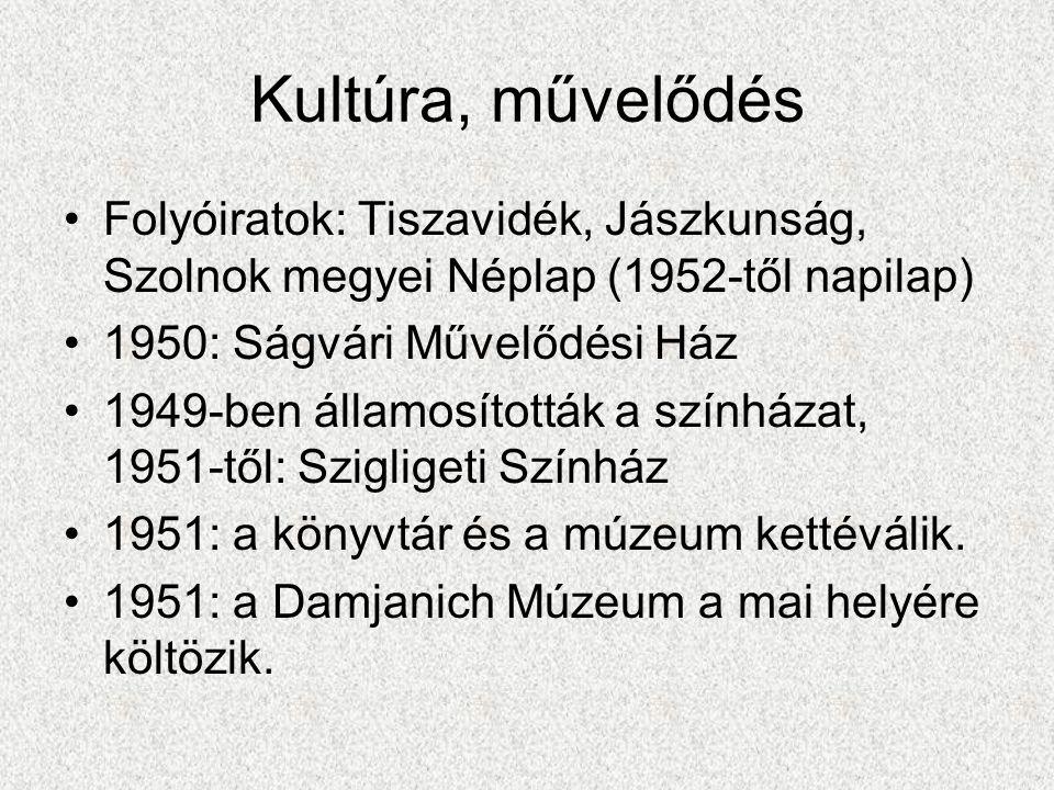 Kultúra, művelődés Folyóiratok: Tiszavidék, Jászkunság, Szolnok megyei Néplap (1952-től napilap) 1950: Ságvári Művelődési Ház.