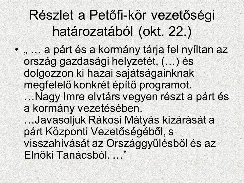 Részlet a Petőfi-kör vezetőségi határozatából (okt. 22.)