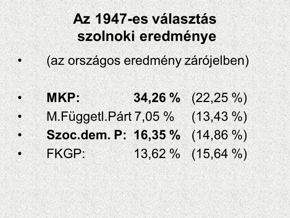 Az 1947-es választás szolnoki eredménye