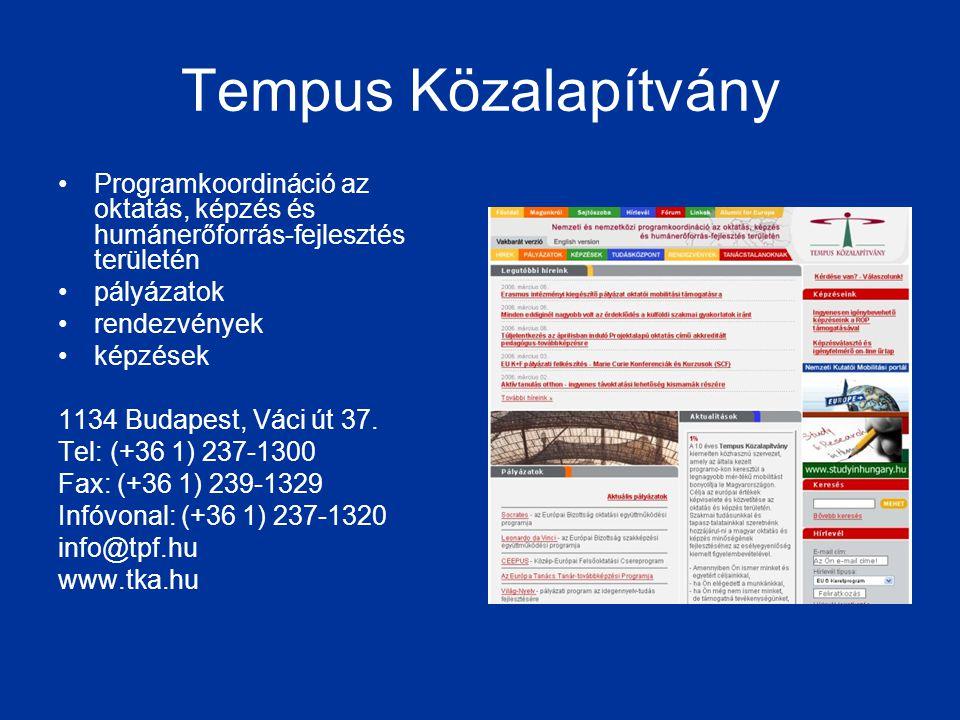 Tempus Közalapítvány Programkoordináció az oktatás, képzés és humánerőforrás-fejlesztés területén. pályázatok.