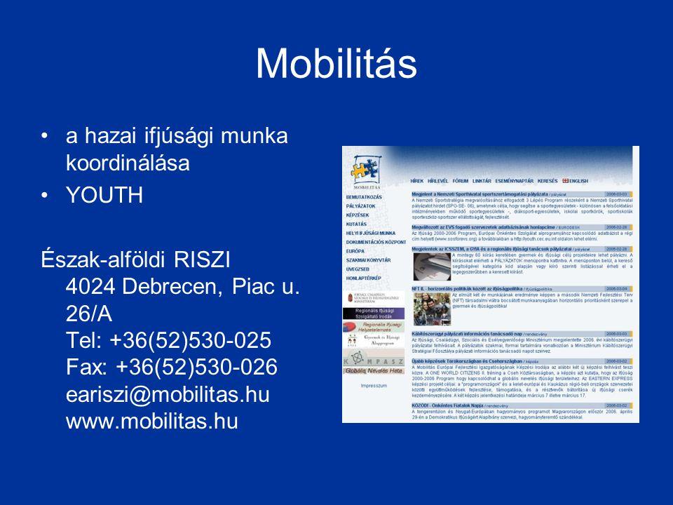 Mobilitás a hazai ifjúsági munka koordinálása YOUTH