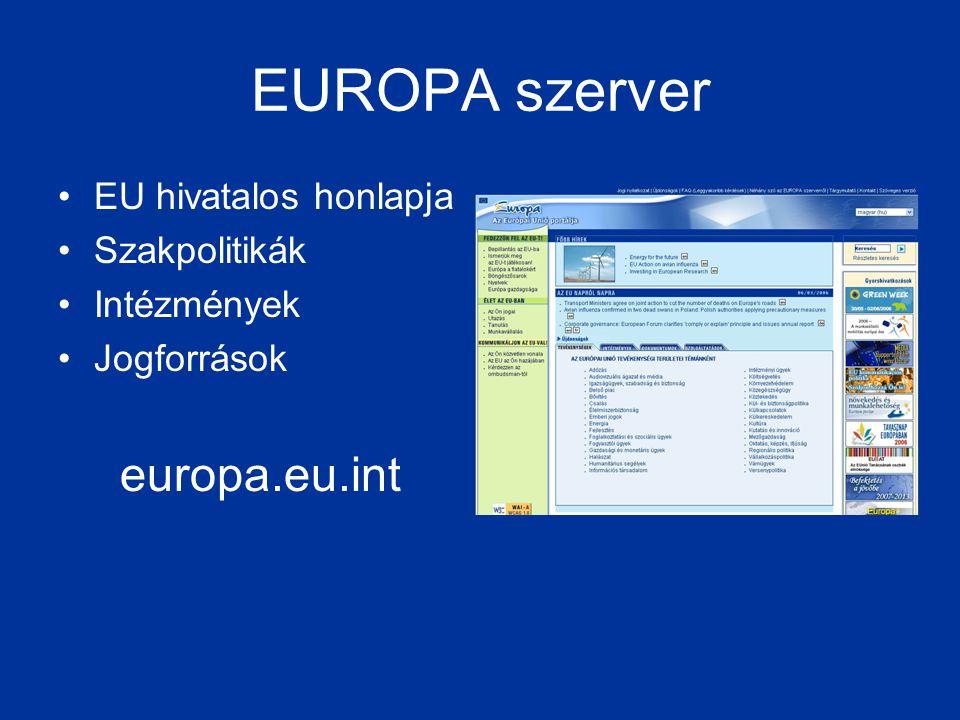 EUROPA szerver europa.eu.int EU hivatalos honlapja Szakpolitikák