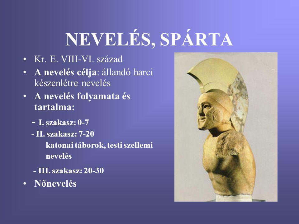 NEVELÉS, SPÁRTA - I. szakasz: 0-7 Kr. E. VIII-VI. század