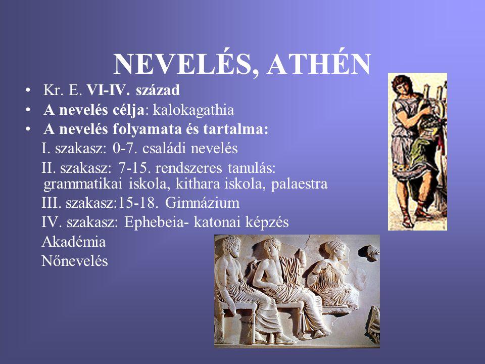 NEVELÉS, ATHÉN Kr. E. VI-IV. század A nevelés célja: kalokagathia