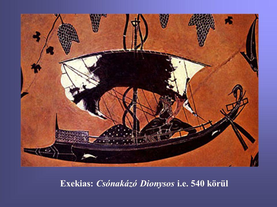 Exekias: Csónakázó Dionysos i.e. 540 körül