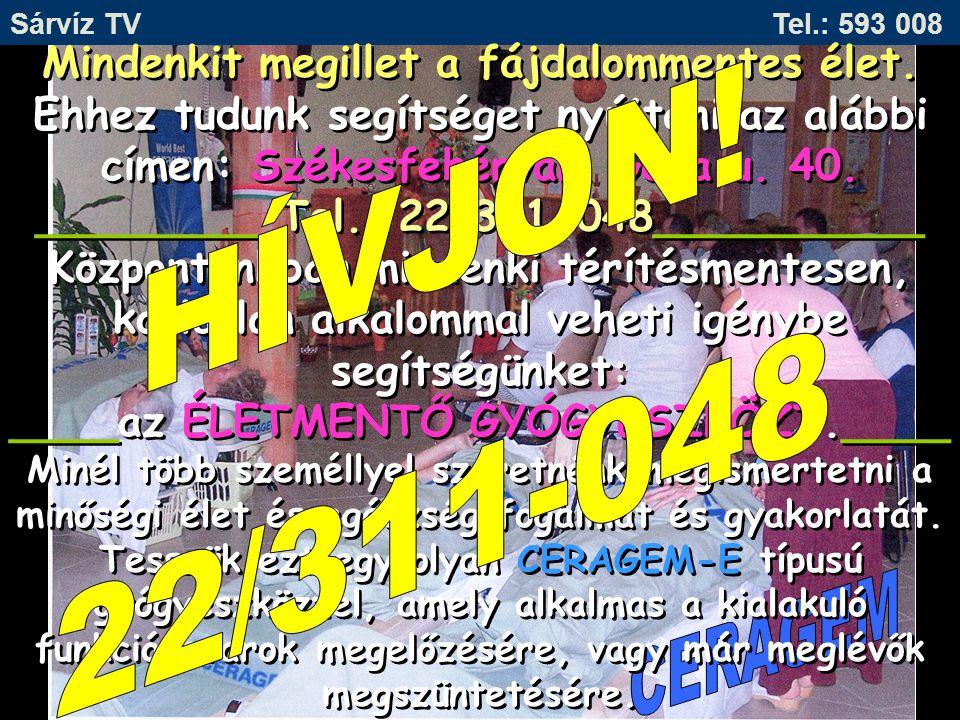 Sárvíz TV Tel.: 593 008 HÍVJON! 22/311-048.