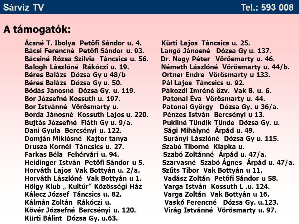 A támogatók: Sárvíz TV Tel.: 593 008