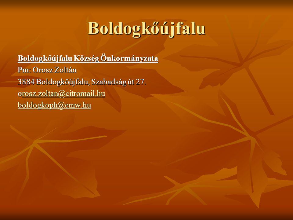 Boldogkőújfalu Boldogkőújfalu Község Önkormányzata Pm: Orosz Zoltán