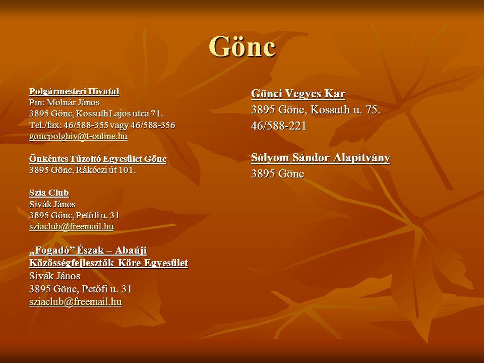 Gönc Gönci Vegyes Kar 3895 Gönc, Kossuth u. 75. 46/588-221