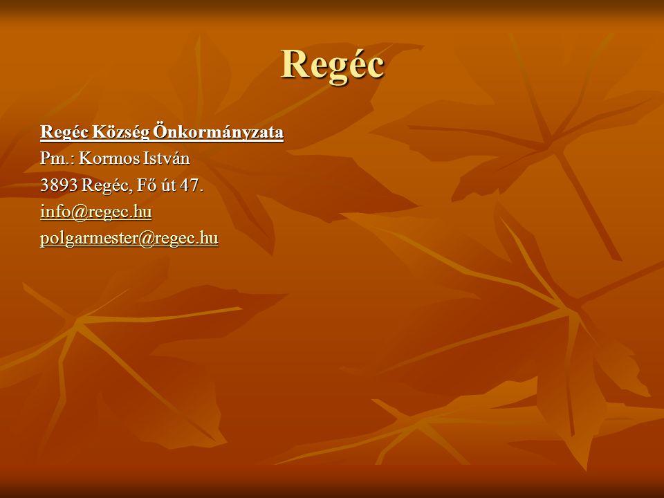 Regéc Regéc Község Önkormányzata Pm.: Kormos István
