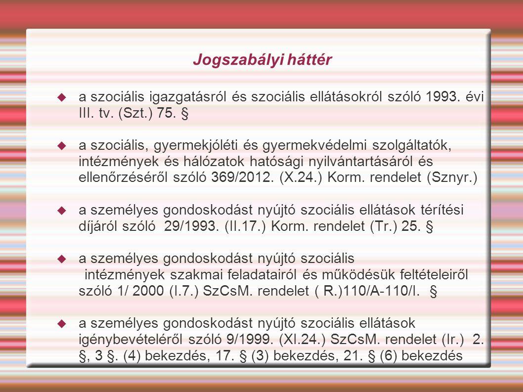 Jogszabályi háttér a szociális igazgatásról és szociális ellátásokról szóló 1993. évi III. tv. (Szt.) 75. §