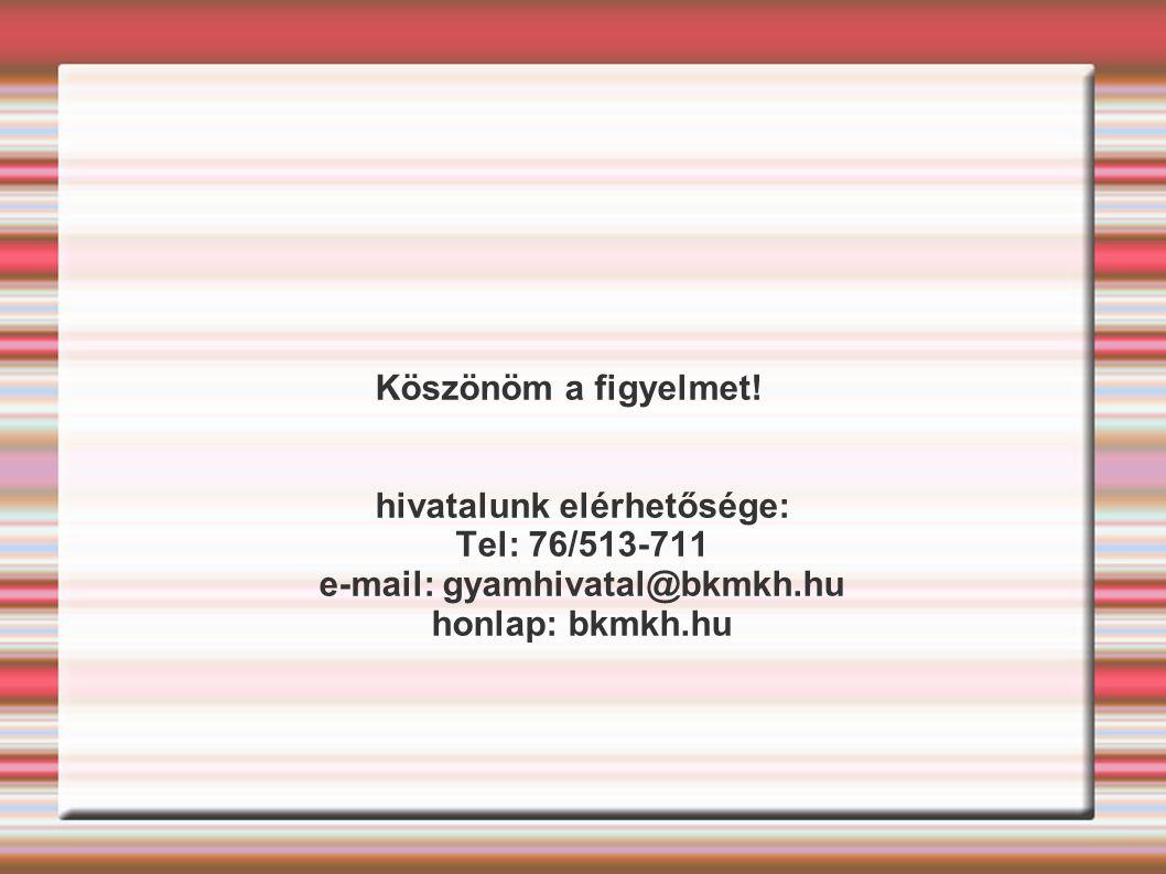 hivatalunk elérhetősége: e-mail: gyamhivatal@bkmkh.hu