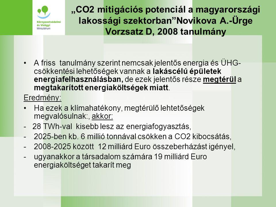 """""""CO2 mitigációs potenciál a magyarországi lakossági szektorban Novikova A.-Ürge Vorzsatz D, 2008 tanulmány"""