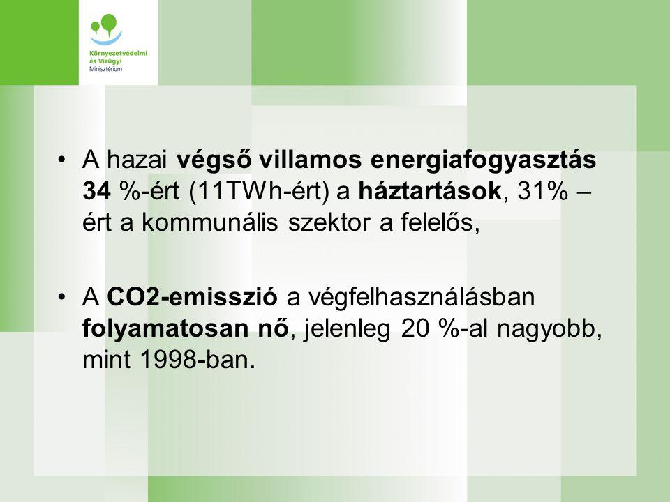 A hazai végső villamos energiafogyasztás 34 %-ért (11TWh-ért) a háztartások, 31% –ért a kommunális szektor a felelős,