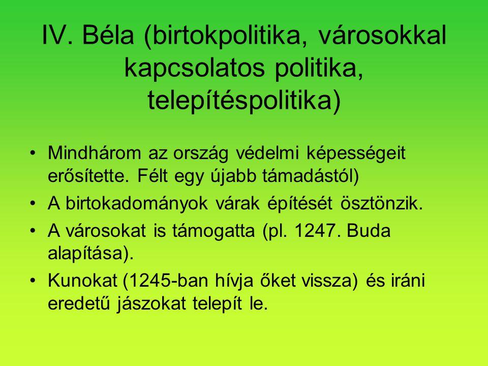 IV. Béla (birtokpolitika, városokkal kapcsolatos politika, telepítéspolitika)