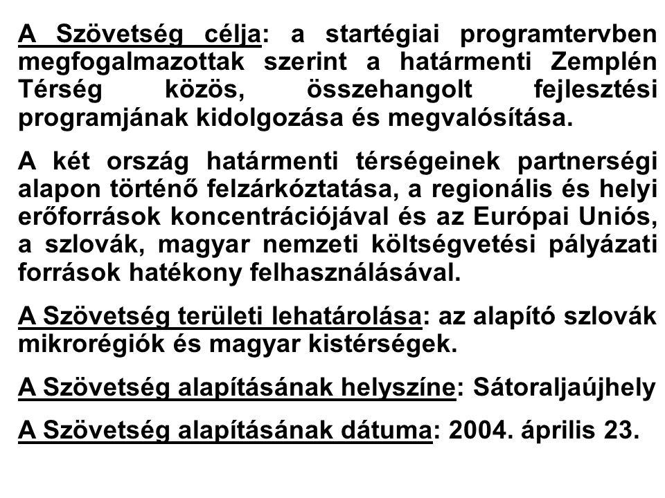 A Szövetség célja: a startégiai programtervben megfogalmazottak szerint a határmenti Zemplén Térség közös, összehangolt fejlesztési programjának kidolgozása és megvalósítása.