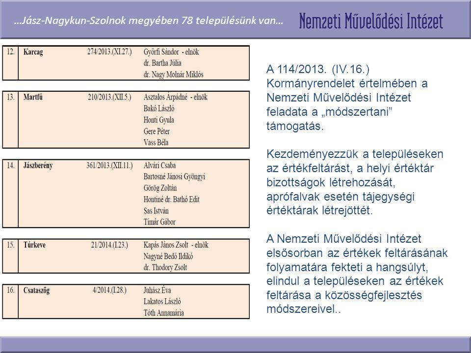 …Jász-Nagykun-Szolnok megyében 78 településünk van…
