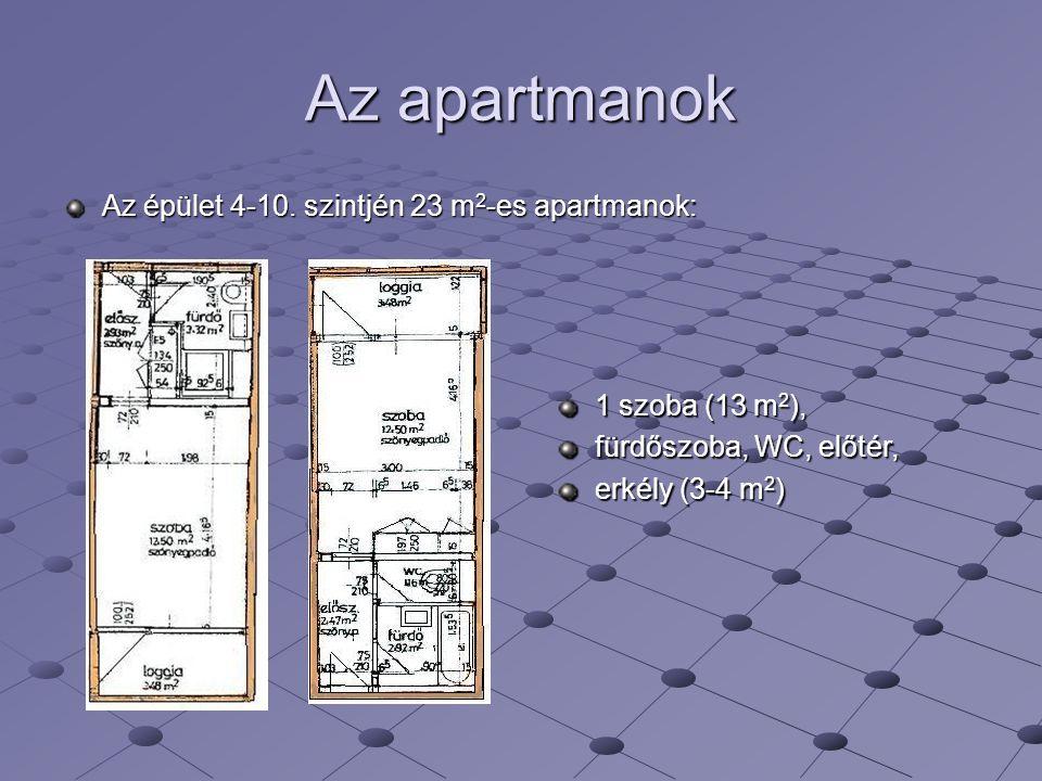 Az apartmanok Az épület 4-10. szintjén 23 m2-es apartmanok: