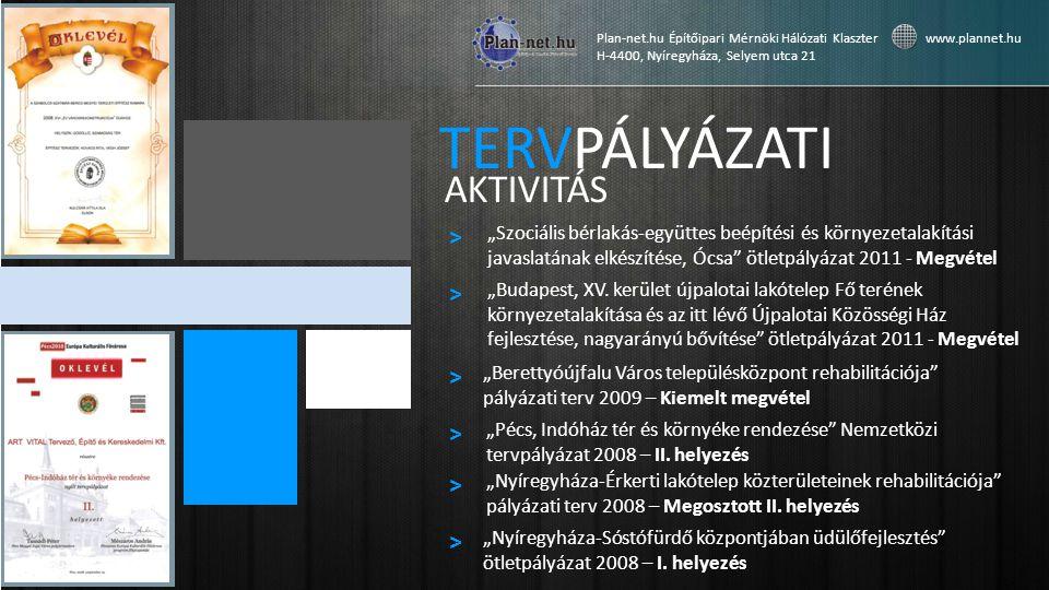 TERVPÁLYÁZATI AKTIVITÁS > > > > > >