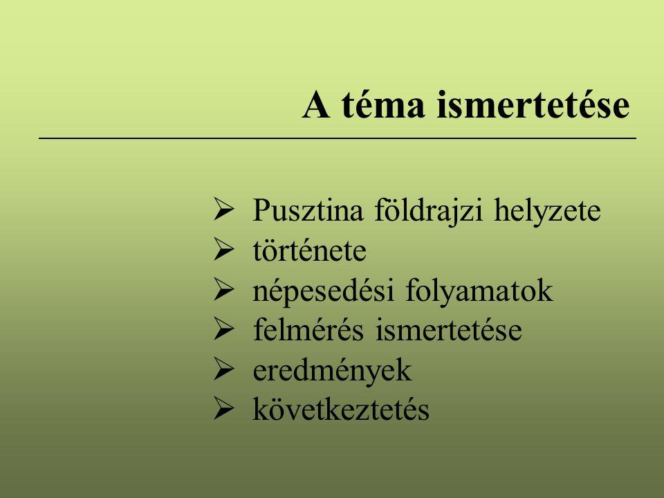 A téma ismertetése Pusztina földrajzi helyzete története