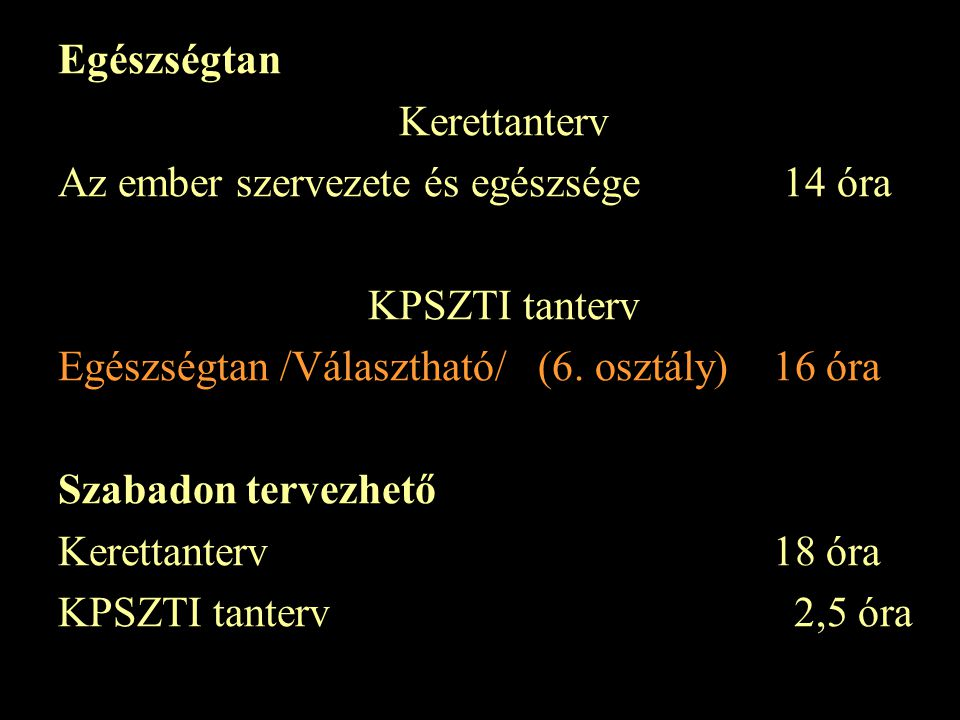 Egészségtan Kerettanterv. Az ember szervezete és egészsége 14 óra. KPSZTI tanterv. Egészségtan /Választható/ (6. osztály) 16 óra.