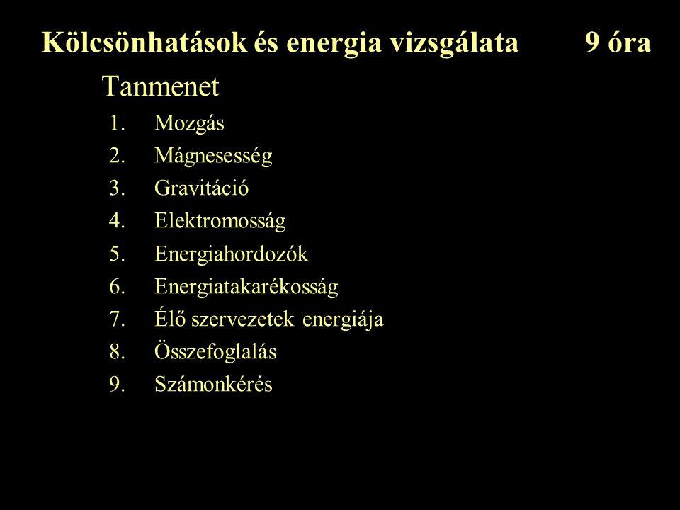 Kölcsönhatások és energia vizsgálata 9 óra Tanmenet