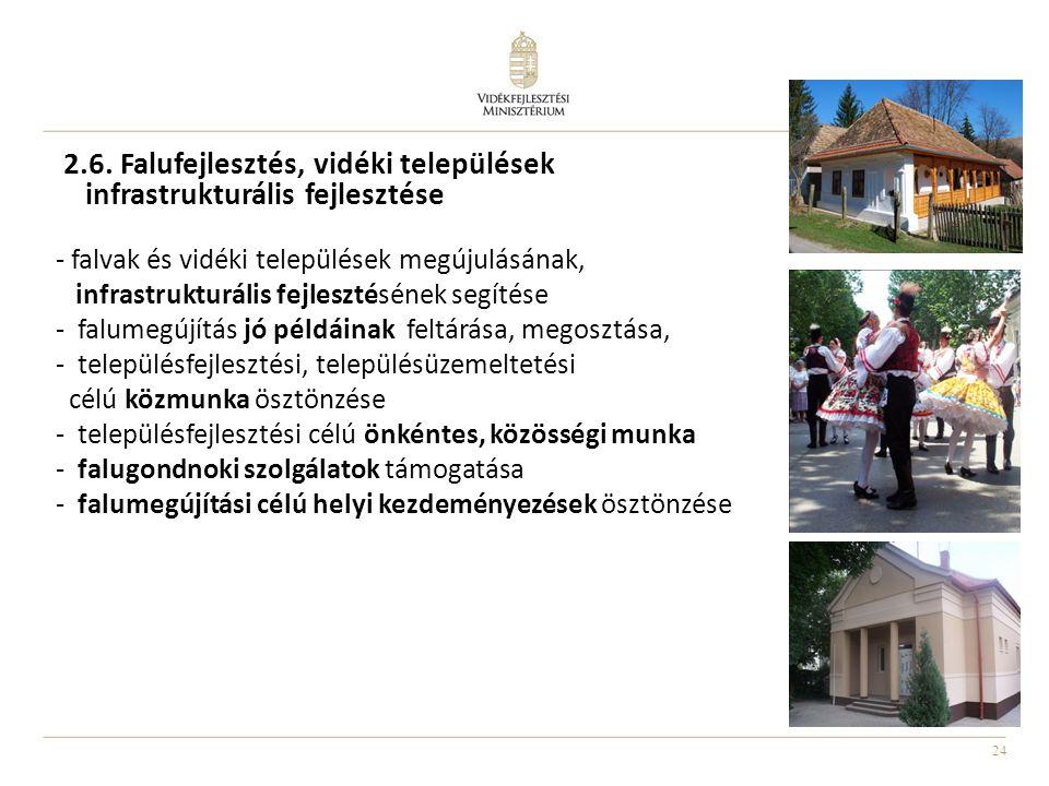 2.6. Falufejlesztés, vidéki települések infrastrukturális fejlesztése