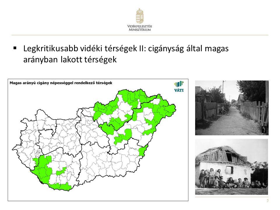Legkritikusabb vidéki térségek II: cigányság által magas arányban lakott térségek