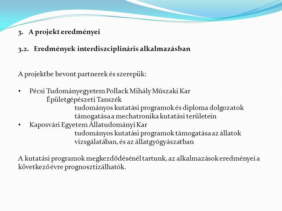A projekt eredményei 3.2. Eredmények interdiszciplináris alkalmazásban. A projektbe bevont partnerek és szerepük: