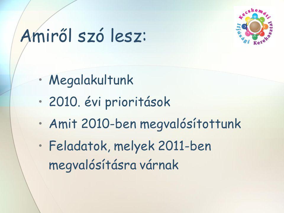 Amiről szó lesz: Megalakultunk 2010. évi prioritások