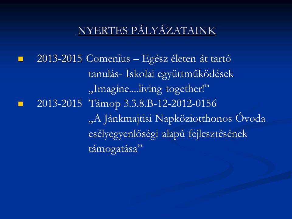 NYERTES PÁLYÁZATAINK 2013-2015 Comenius – Egész életen át tartó. tanulás- Iskolai együttműködések.