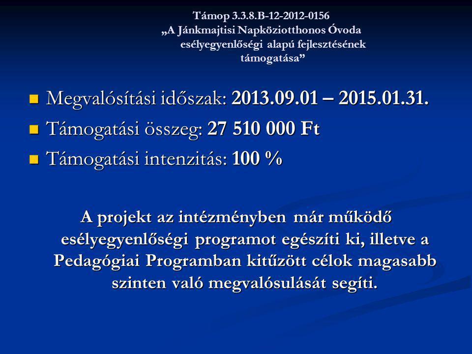 Megvalósítási időszak: 2013.09.01 – 2015.01.31.
