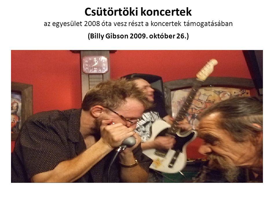 Csütörtöki koncertek az egyesület 2008 óta vesz részt a koncertek támogatásában (Billy Gibson 2009.