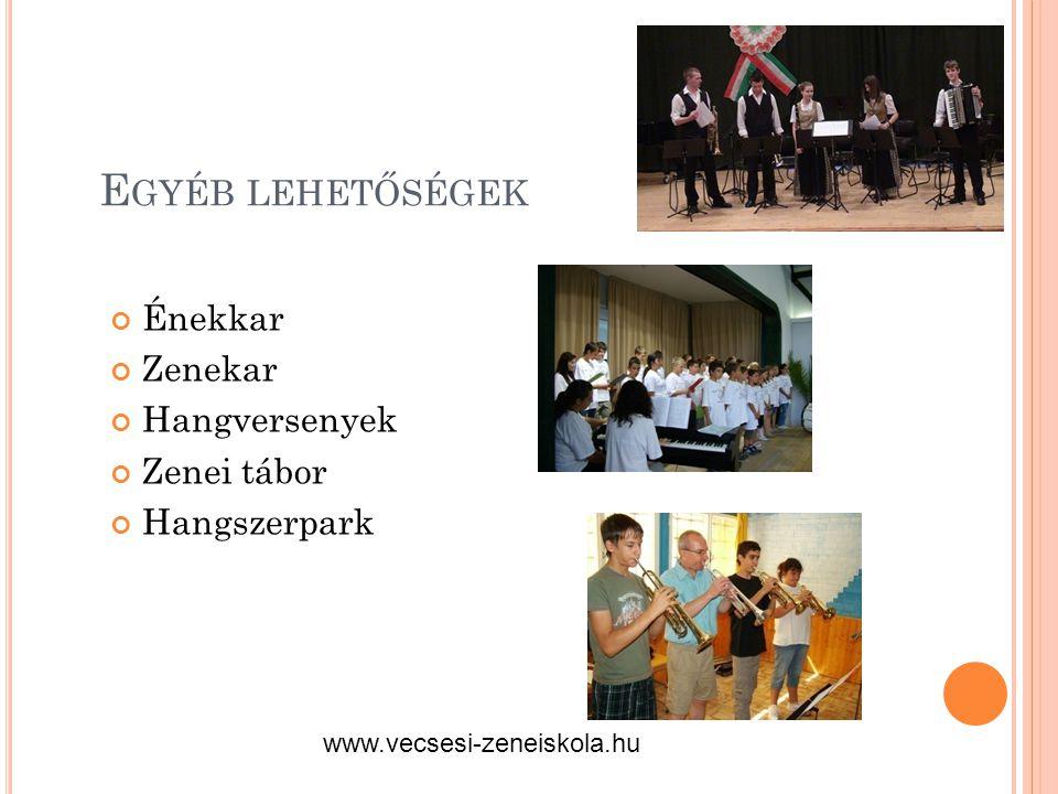Egyéb lehetőségek Énekkar Zenekar Hangversenyek Zenei tábor
