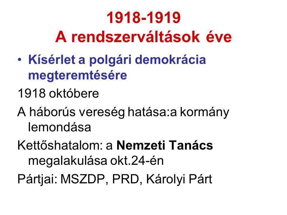 1918-1919 A rendszerváltások éve