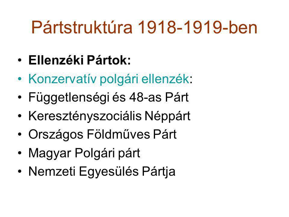 Pártstruktúra 1918-1919-ben Ellenzéki Pártok: