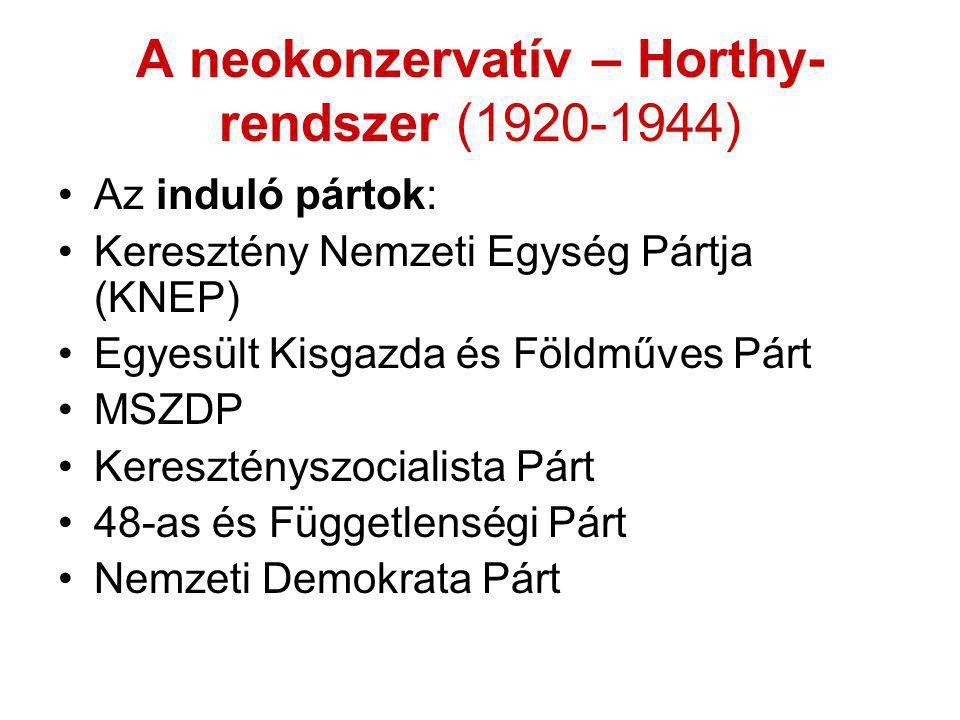 A neokonzervatív – Horthy-rendszer (1920-1944)