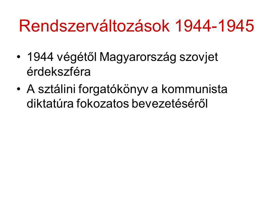 Rendszerváltozások 1944-1945 1944 végétől Magyarország szovjet érdekszféra.