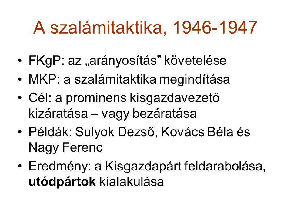"""A szalámitaktika, 1946-1947 FKgP: az """"arányosítás követelése"""