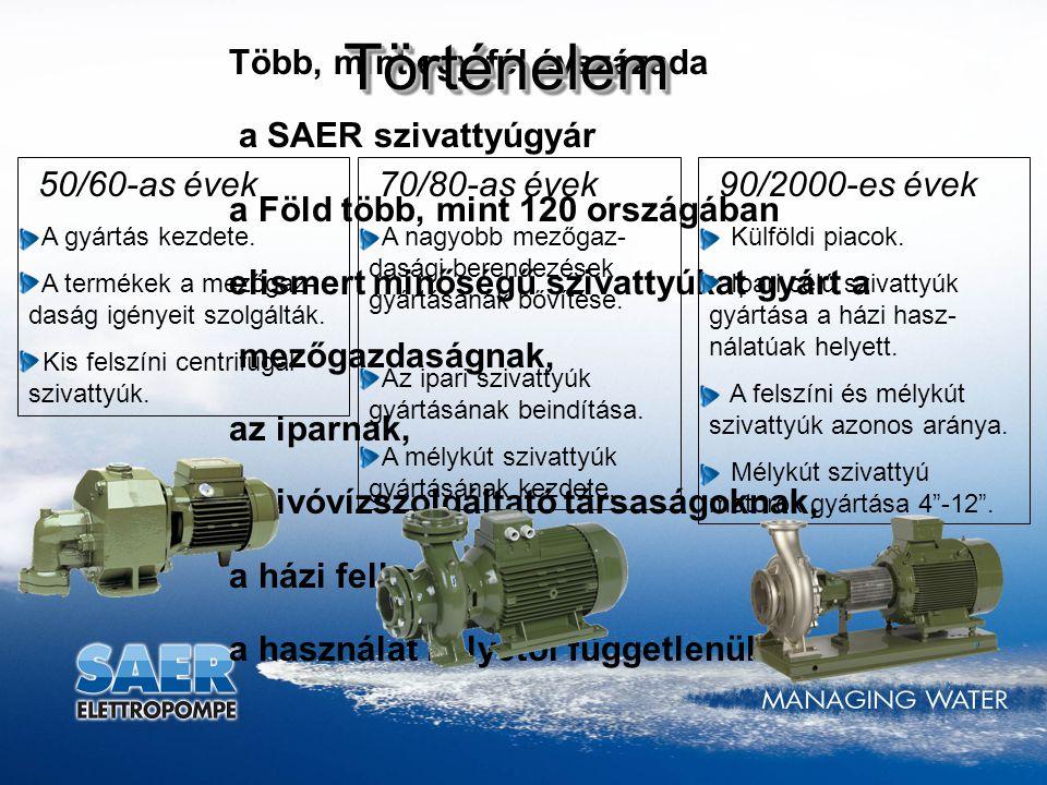 Történelem Több, mint egy fél évszázada a SAER szivattyúgyár