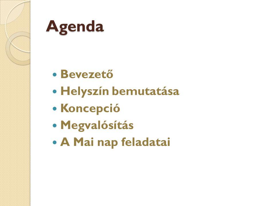 Agenda Bevezető Helyszín bemutatása Koncepció Megvalósítás