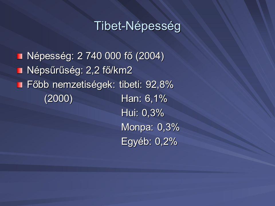 Tibet-Népesség Népesség: 2 740 000 fő (2004) Népsűrűség: 2,2 fő/km2