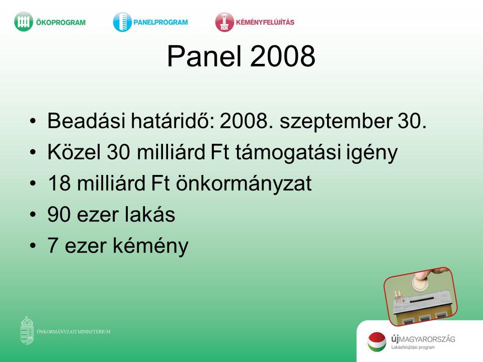 Panel 2008 Beadási határidő: 2008. szeptember 30.